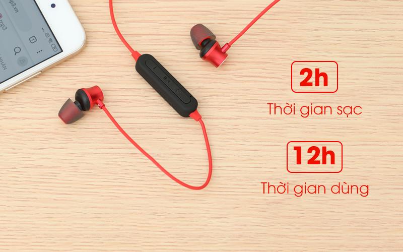 Tai nghe Bluetooth Mozard Q6 Đỏ có thời gian sử dụng khá lâu