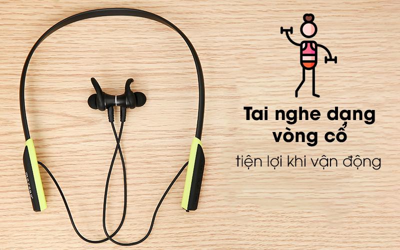 Tai nghe Bluetooth Mozard Flex4 Đen Xanh với thiết kế dạng vòng cổ