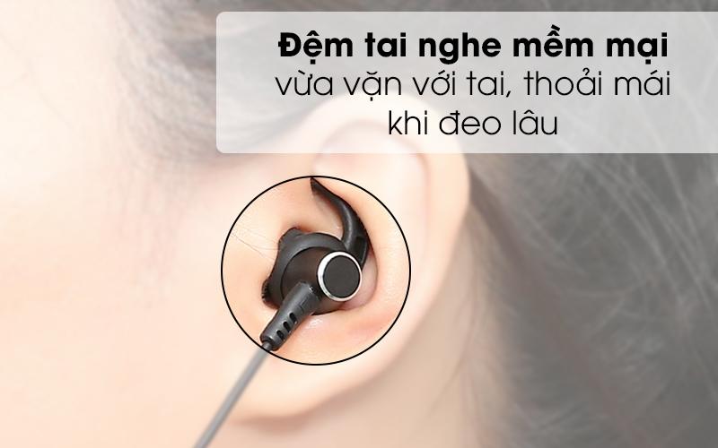 Tai nghe Bluetooth Mozard Flex4 Đen Xanh có nút đệm cao su mềm mại