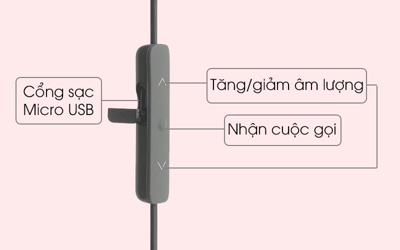 Tai nghe Bluetooth thể thao JBL V110GABT và nút điều khiển tiện lợi