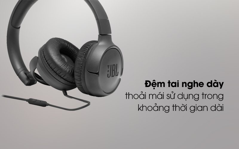 Tai nghe chụp tai JBL T500BLK có đệm tai nghe êm ái