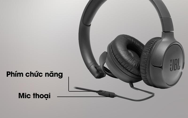 Tai nghe chụp tai JBL T500BLK với phím chức năng tiện ích