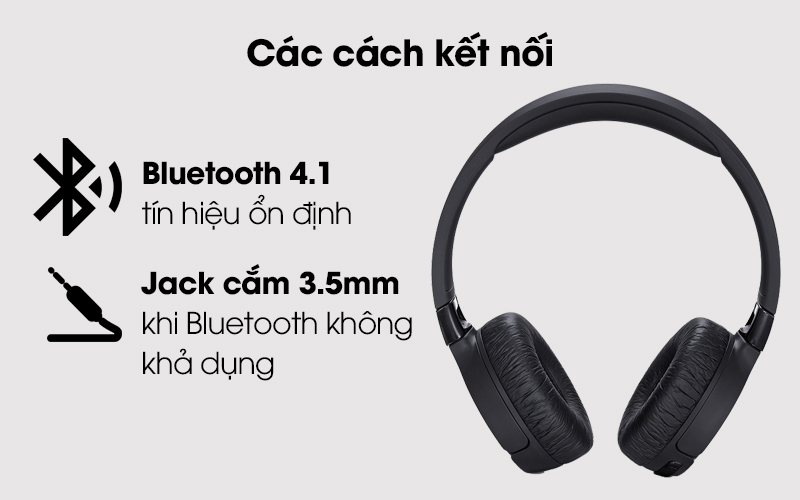 Có 2 cách để kết nối tai nghe chụp tai Bluetooth JBL Tune T600BTNCBLK Đen