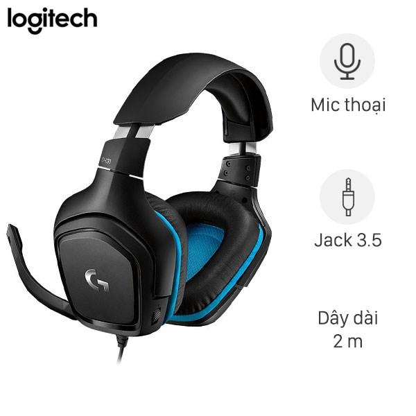 Tai nghe chụp tai Gaming Logitech G431 7.1 Đen Xanh
