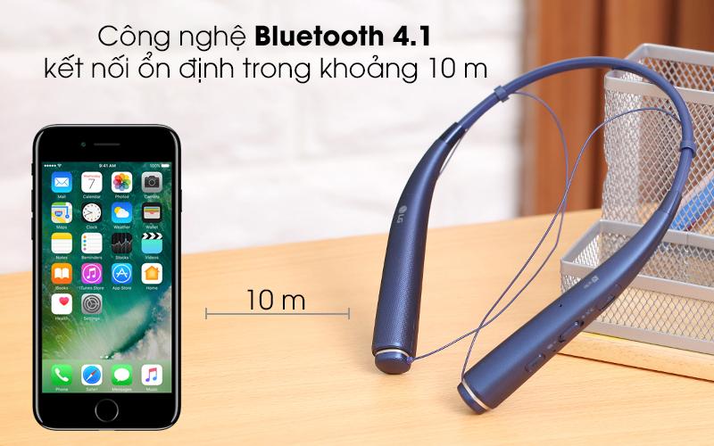Bluetooth 4.1 cho kết nối đảm bảo ổn định, âm thanh rõ ràng - Tai nghe Bluetooth LG HBS-780