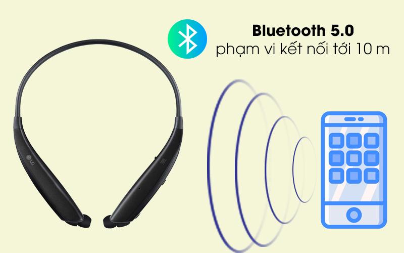Bluetooth 5.0 cho âm thanh mượt mà - Tai nghe Bluetooth LG HBS-835 Đen