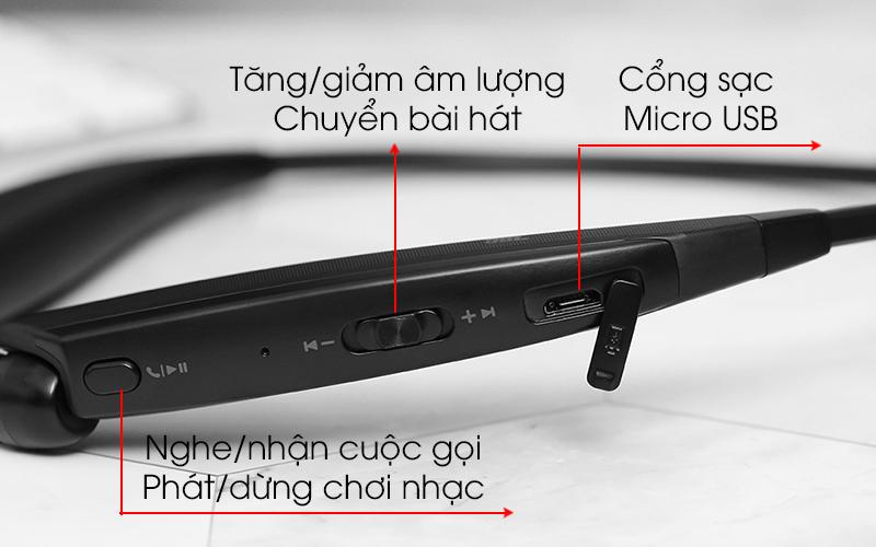 Nút tính năng điều khiển tích hợp - Tai nghe Bluetooth LG HBS-835 Đen