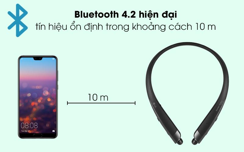 Công nghệ Bluetooth 4.2 cho kết nối ổn định, mượt mà - Tai nghe Bluetooth LG HBS-1120 Đen