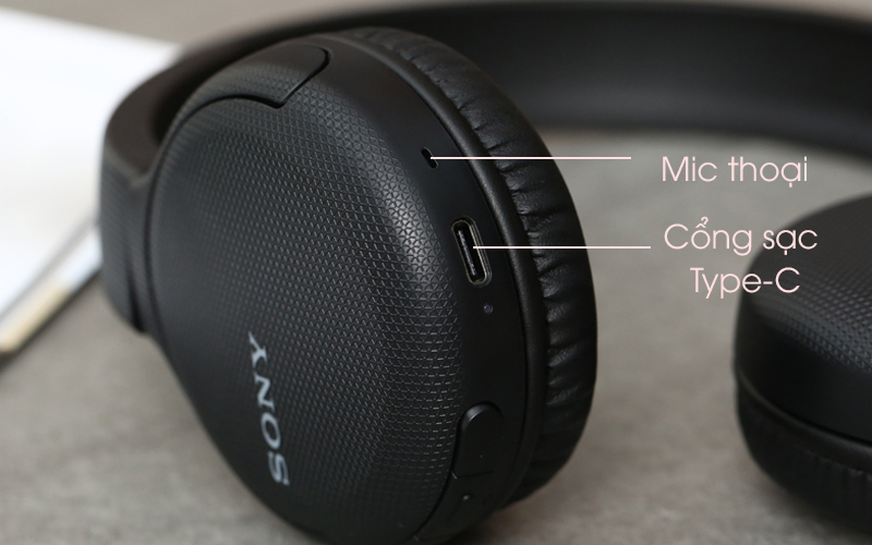 Tai nghe chụp tai Bluetooth Sony WH-CH510/BC đen với cổng sạc Type-C