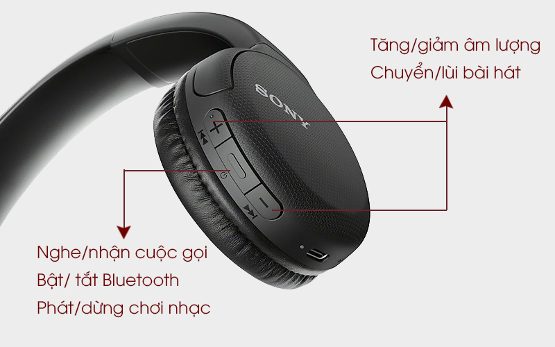 Tai nghe chụp tai Bluetooth Sony WH-CH510/BC đen với các nút bấm