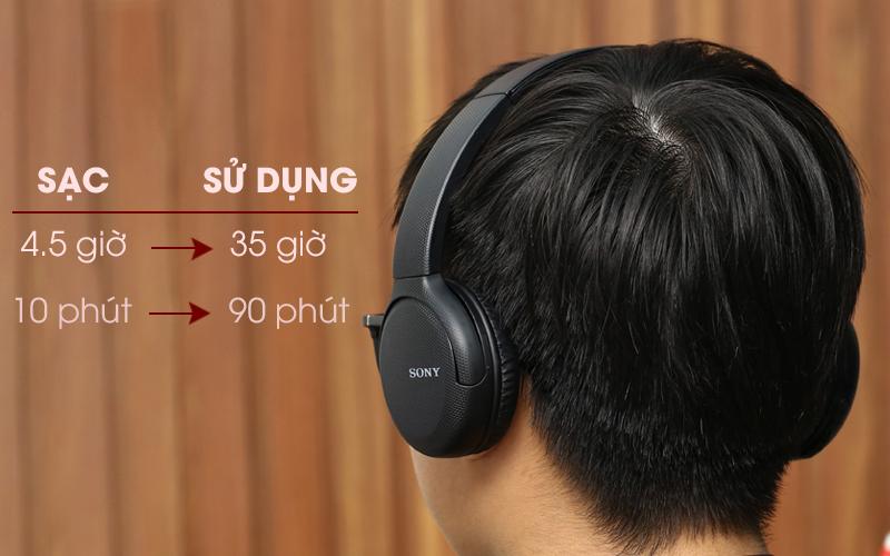 Tai nghe chụp tai Bluetooth Sony WH-CH510/BC đen có thời gian dùng lâu