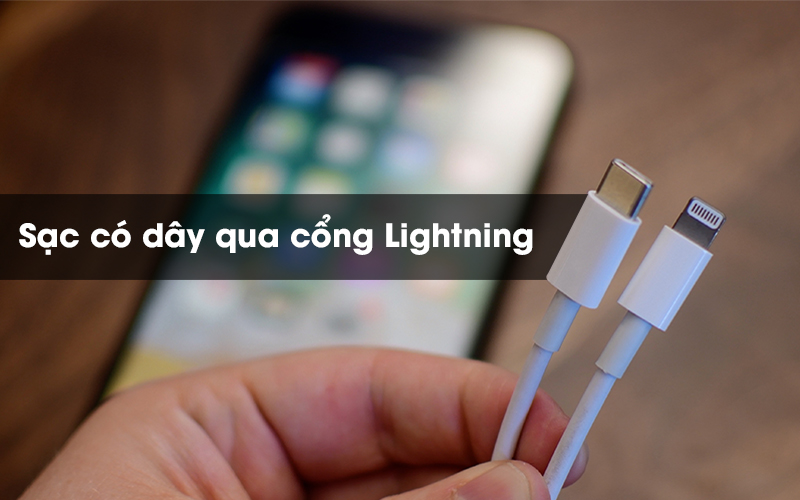 Dùng cáp Lightning để sạc Tai nghe Bluetooth Airpods Pro Apple Trắng
