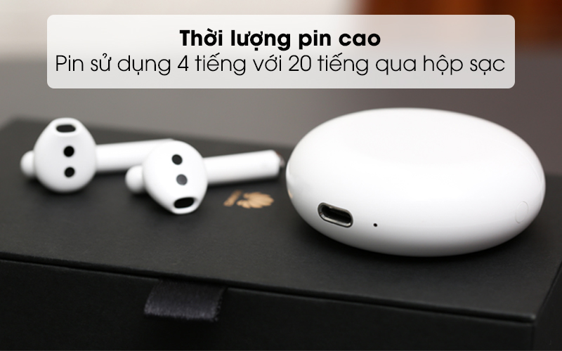 Dung lượng pin cao, xac được 4 lần qua hộp sạc - Tai nghe Bluetooth TWS Huawei FreeBuds 3 Trắng