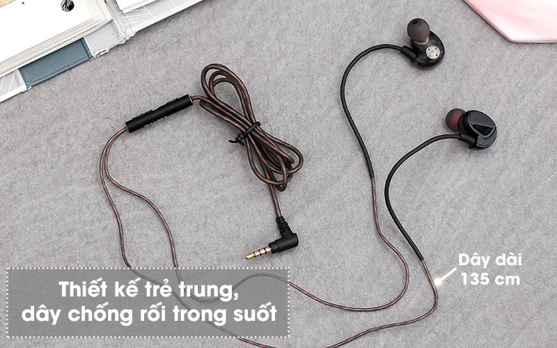 Tai nghe nhét tai EP Mozard S80 Đen - Thiết kế gọn nhẹ, màu đen đỏ năng động