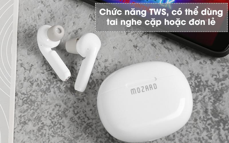 Tai nghe Bluetooth True Wireless Mozard AT15 Trắng - Thiết lập chức năng TWS
