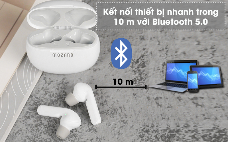 Tai nghe Bluetooth True Wireless Mozard AT15 Trắng - Bluetooth 5.0
