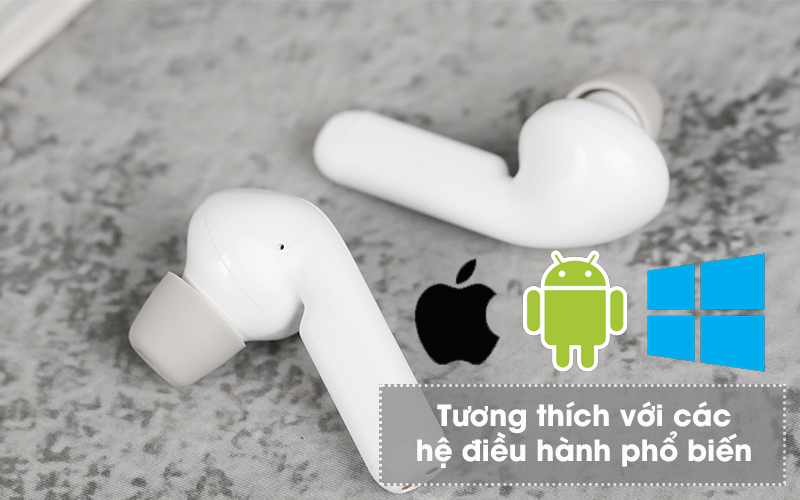 Tai nghe Bluetooth True Wireless Mozard AT15 Trắng - Android, Windows, iOS