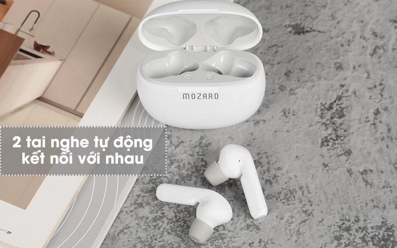 Tai nghe Bluetooth True Wireless Mozard AT15 Trắng - Cách kết nối