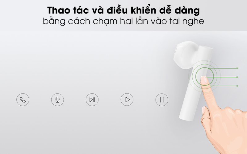 Tai nghe Bluetooth True Wireless Earphones 2 Xiaomi ZBW4493GL Trắng - Thao tác cảm ứng