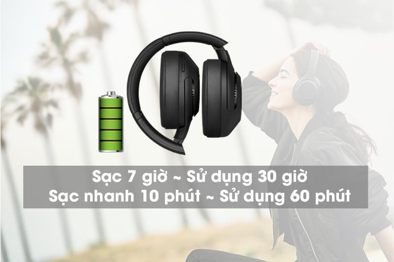 Dung lượng pin tốt - Tai nghe chụp tai Bluetooth Sony WH-XB900N