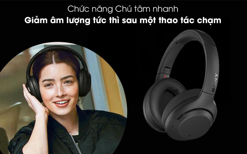 Giảm âm lượng tức thì - Tai nghe chụp tai Bluetooth Sony WH-XB900N