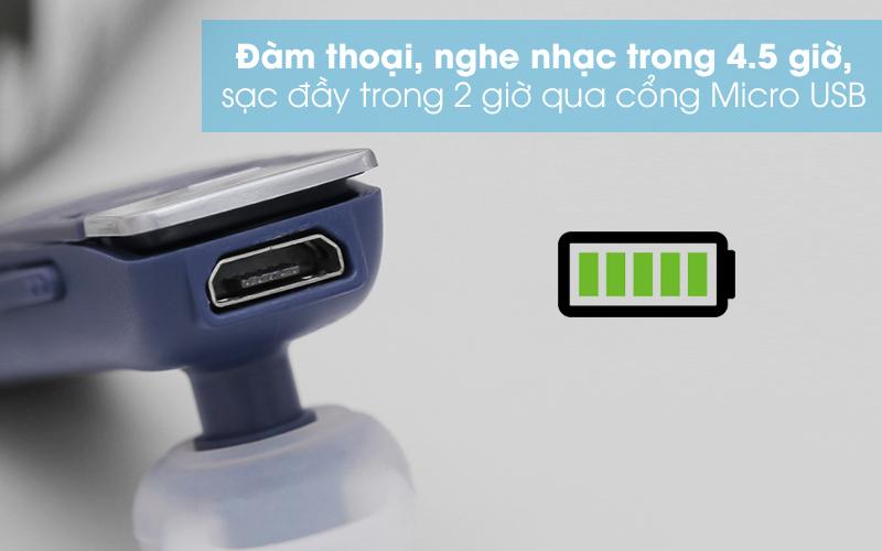 Tai nghe Bluetooth Roman R552X Xanh - Thời gian thoại và nghe nhạc liên tục được 4.5 tiếng, sạc 2 tiếng