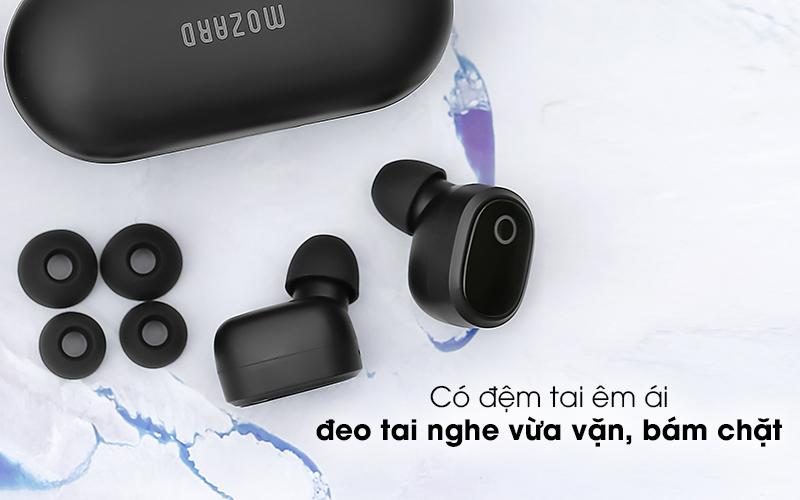 Tai nghe Bluetooth True Wireless Mozard TS13 Đen - Đeo êm ái, bám chặt vào tai với mút tai nghe tiện dụng