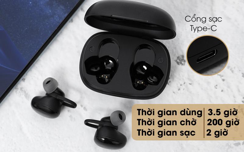 Tai nghe Bluetooth True Wireless Mozard TS11 mini - Chỉ qua 1 lần sạc đầy sau 2 tiếng, bạn sẽ có ngay thời gian sử dụng 3.5 tiếng