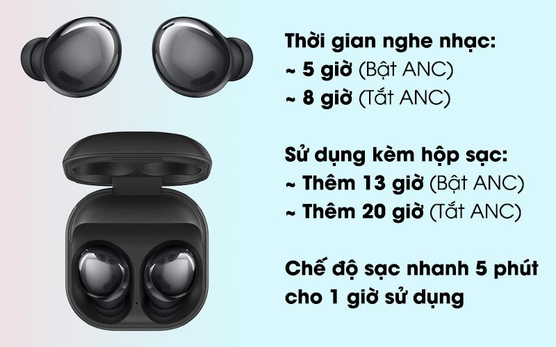 Tai nghe Bluetooth True Wireless Samsung Buds Pro - Thời lượng pin