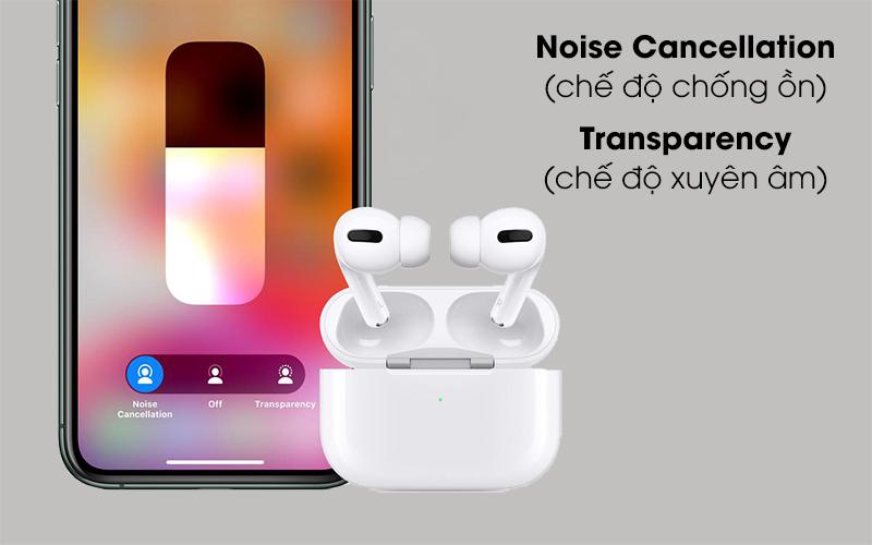 Trang bị chống ồn và chế độ xuyên âm - Tai nghe Bluetooth Airpods Pro Apple