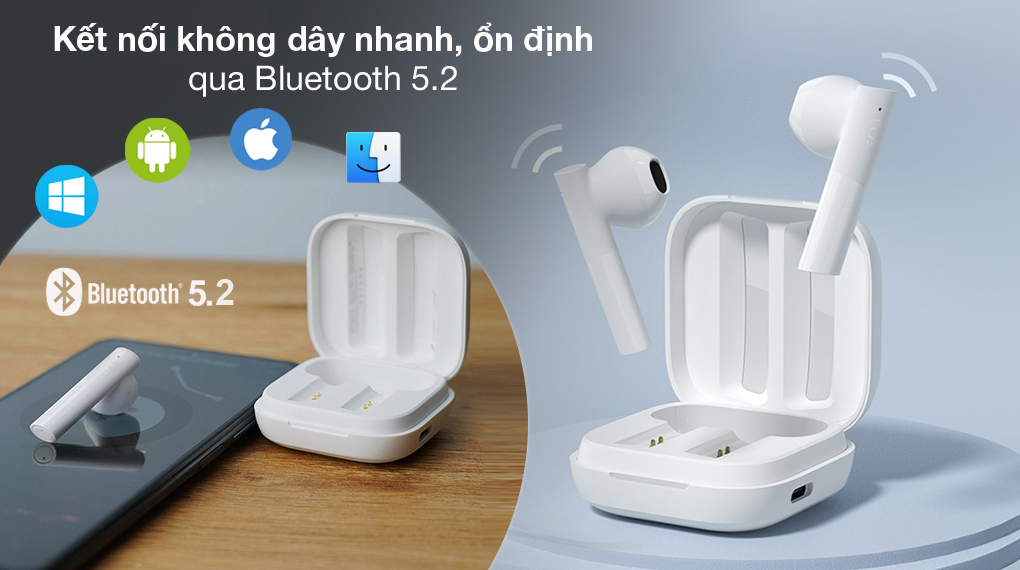 Bluetooth 5.2 - Tai nghe Bluetooth TWS Haylou GT6 Trắng