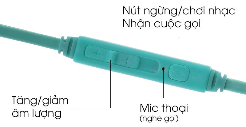 Tai nghe EP Kanen IP-219 Aqua Xám - Nút ấn tương tác tốt