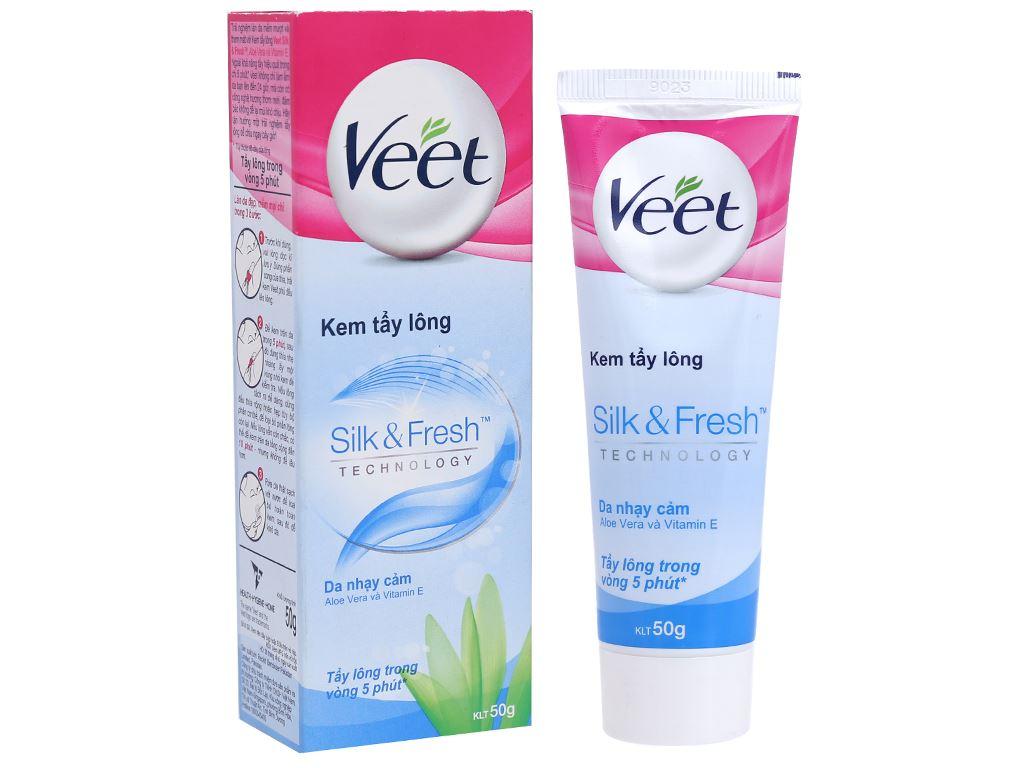 Kem tẩy lông Veet Silk & Fresh cho da nhạy cảm 50g 1