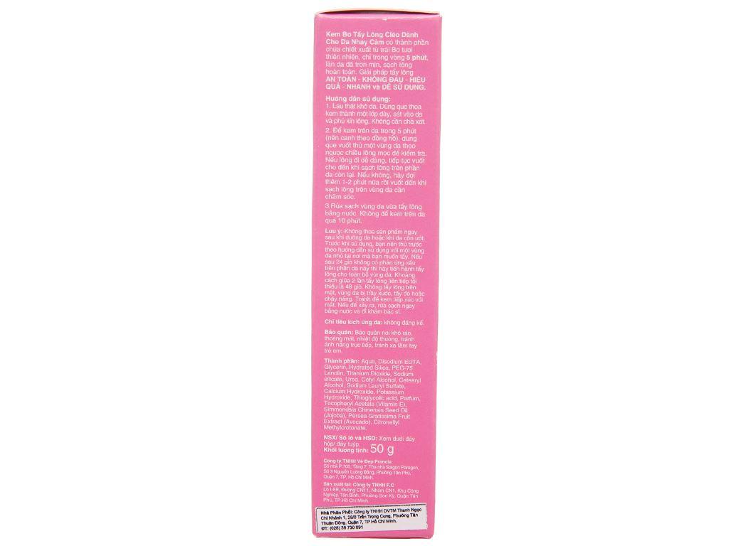 Kem tẩy lông Cléo Avocado Hair Removal Cream cho da nhạy cảm 50g 3