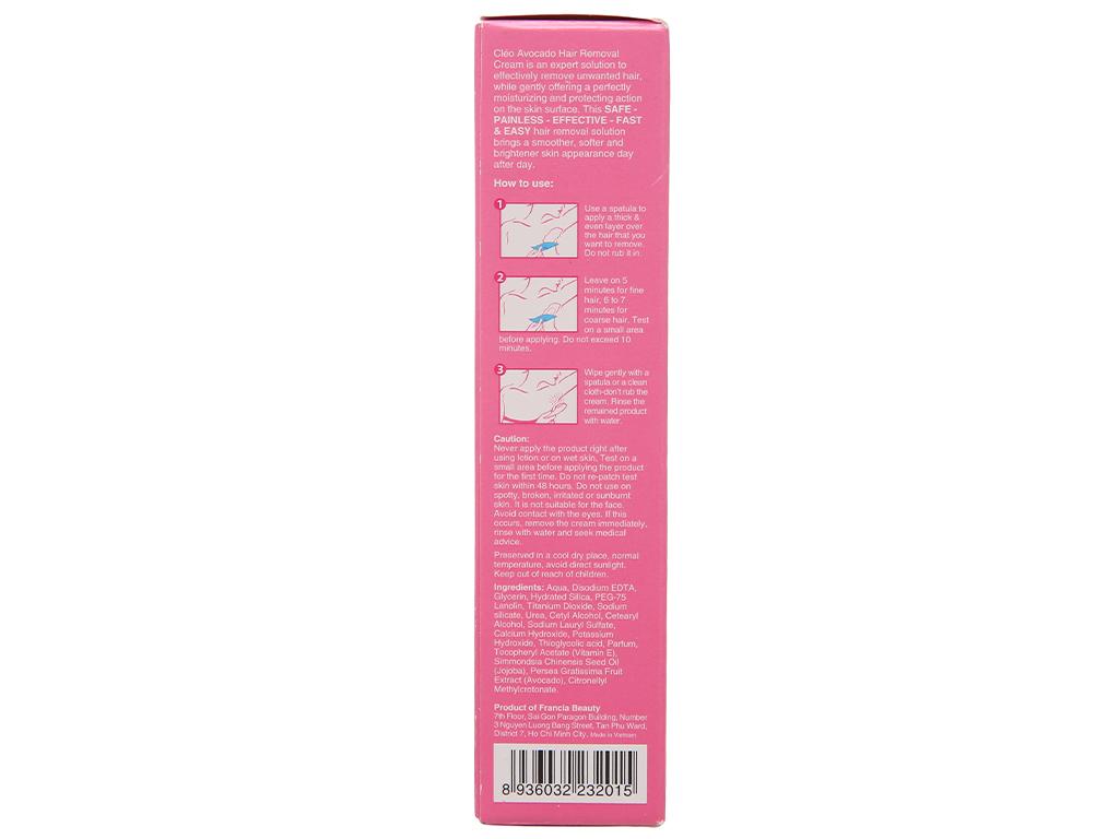 Kem tẩy lông Cléo Avocado Hair Removal Cream cho da nhạy cảm 50g 4