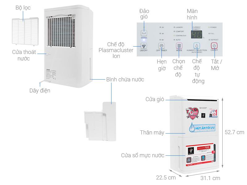Thông số kỹ thuật Máy hút ẩm có lọc không khí Sharp DW-D12A-W
