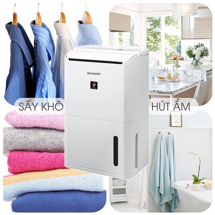 Sấy khô quần áo nhanh chóng - Máy lọc không khí Sharp DW-D12A-W