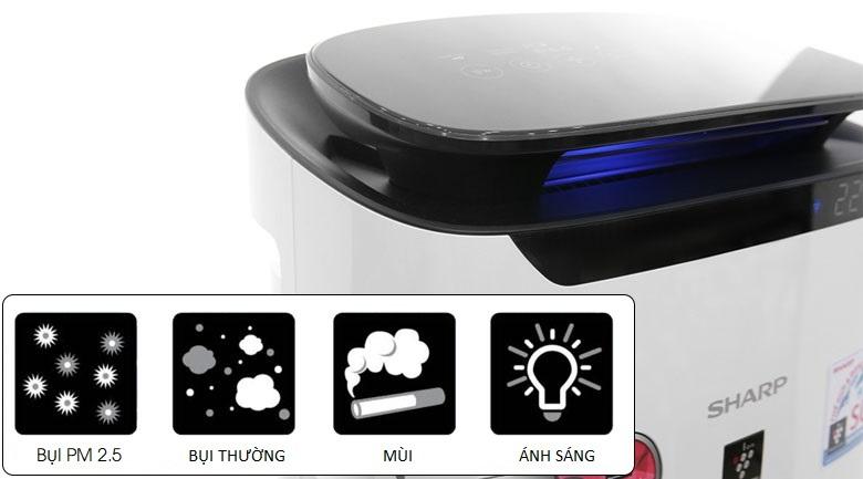 Cảm biến bụi, mùi, ánh sáng và đèn báo chất lượng không khí - Máy lọc không khí Sharp FP-J60E-W