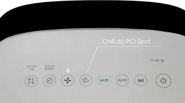 Chế độ PCI Spot - Tăng cường khả năng loại bỏ vi khuẩn, ẩm mốc và mùi hôi có trong không khí - Máy lọc không khí Sharp FP-J80EV-H