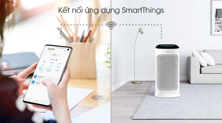 Kết nối thông minh qua ứng dụng SmartThings - Máy lọc không khí Samsung AX60R5080WD/SV