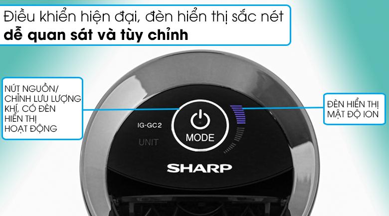 Máy lọc không khí Sharp IG-GC2E đen - Thiết kế bảng điều khiển hiện đại