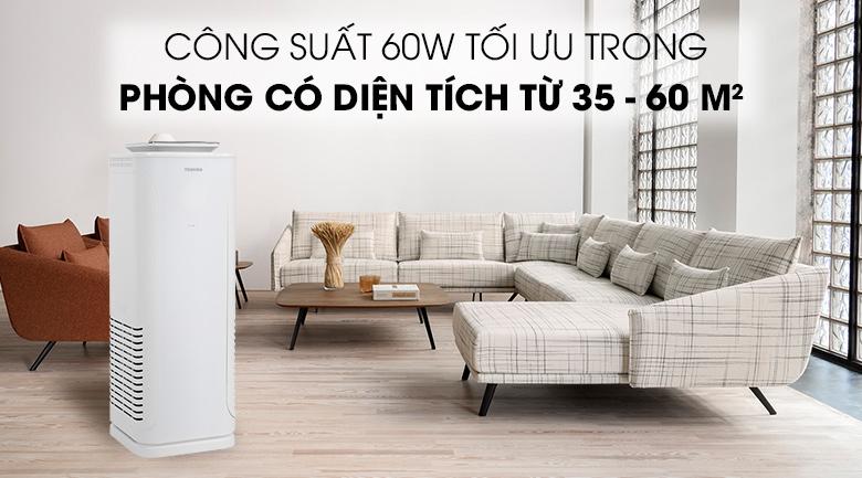 Máy lọc không khí Toshiba CAF-N50(W)VN - công suất 60W phù hợp cho phòng từ 35 - 60 m²