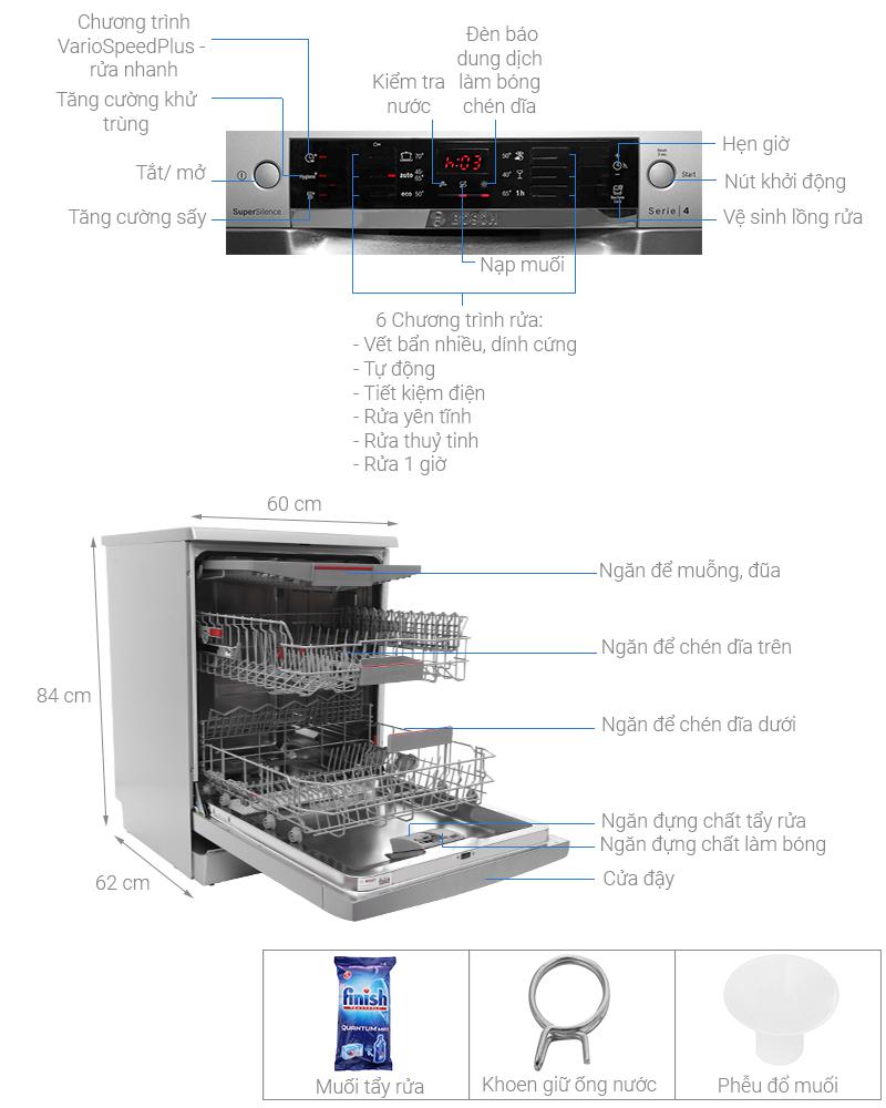 Thông số kỹ thuật Máy rửa bát Bosch SMS46MI05E 2400W