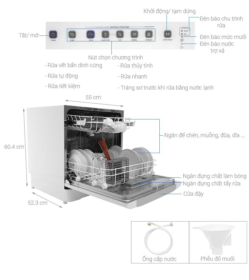 Thông số kỹ thuật Máy rửa chén mini Electrolux ESF6010BW 1480W