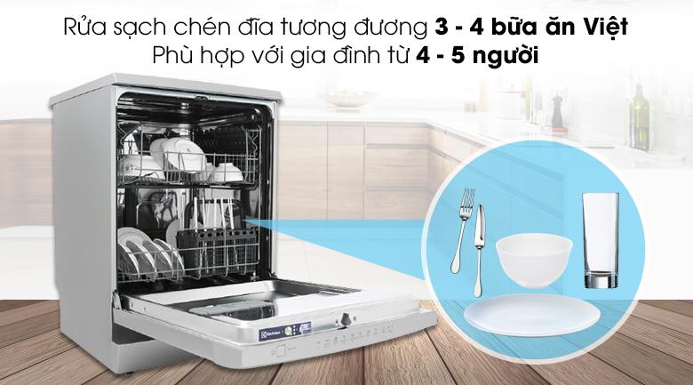 Rửa sạch chén đĩa tương đương 3 - 4 bữa ăn Việt - Máy rửa bát Electrolux ESF5512LOX 1950W