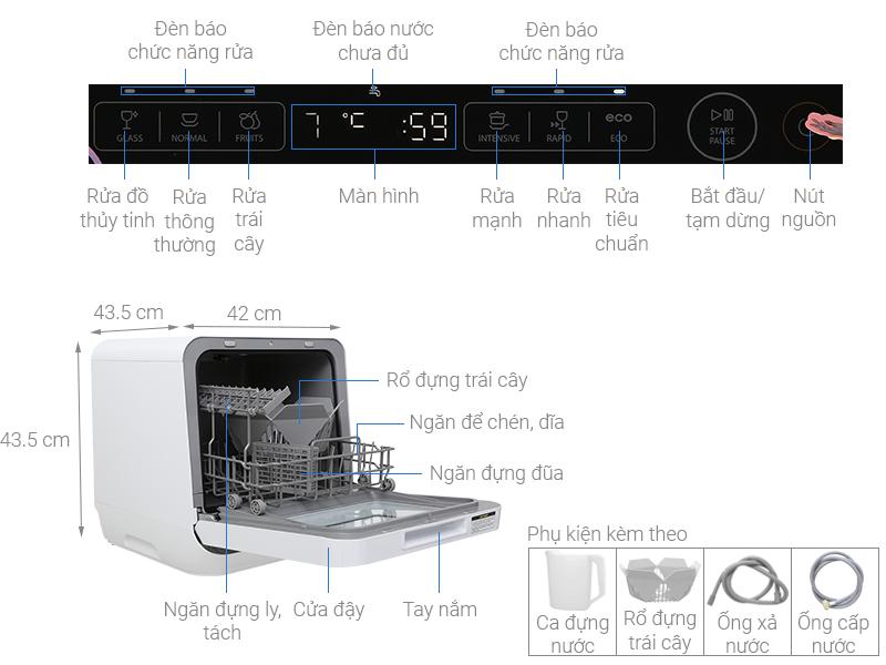 Thông số kỹ thuật Máy rửa chén mini Toshiba DWS-22AVN K 730W