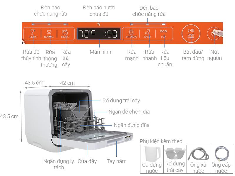 Thông số kỹ thuật Máy rửa chén mini Toshiba DWS-22AVN D 730W