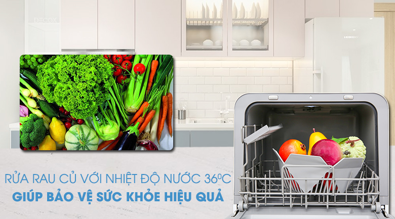 Rửa trái cây, rau củ chỉ trong thời gian 6 đến 12 phút - Máy rửa chén mini Toshiba DWS-22AVN D 730W