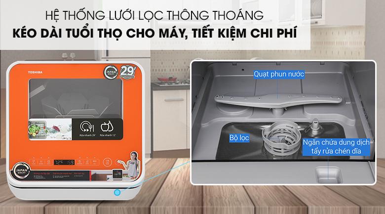 Trang bị hệ thống lưới lọc thông thoáng - Máy rửa chén mini Toshiba DWS-22AVN D 730W