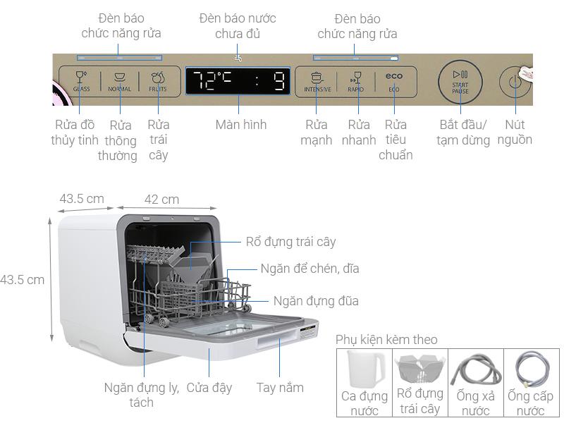 Thông số kỹ thuật Máy rửa chén Toshiba DWS-22AVN N 730W